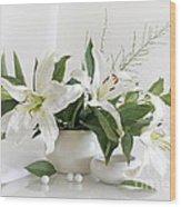 Whites Lilies Wood Print