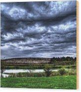 Wicked Wave Clouds Wood Print