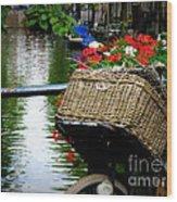 Wicker Bike Basket With Flowers Wood Print