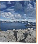 Wide View Of Crater Lake Wood Print