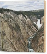 Wide View Of The Lower Falls In Yellowstone Wood Print