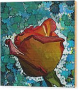 Wild And Crazy Rose Bud Wood Print