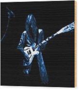 Wild Blue Guitar Wood Print