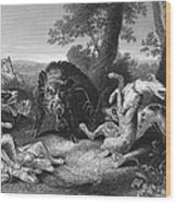 Wild Boar Hunt Wood Print