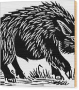 Wild Boar, Woodcut Wood Print