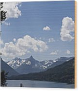 Wild Goose Island Floats In St Mary Lake Wood Print