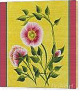 Wild Roses On Yellow With Borders Wood Print