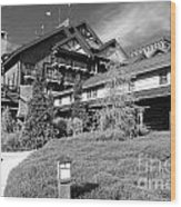 Wilderness Lodge Resort Beach Walt Disney World Prints Black And White Wood Print
