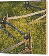 Wildflowers And A Wooden Fence At Wood Print