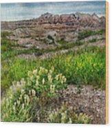 Wildflowers In Badlands Wood Print