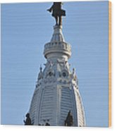 William Penn - On Top Of City Hall Wood Print by Bill Cannon