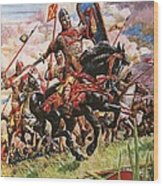 William The Conqueror At The Battle Of Hastings Wood Print