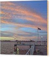 Williams Pier During Sunrise In Gulfport Florida Wood Print