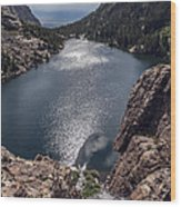Willow Lake Waterfall Wood Print