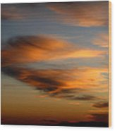 Wind Blown Sunset Sunset Clouds Over Mount Taylor Wood Print