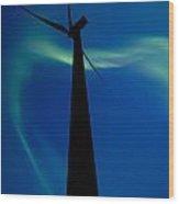 Wind Farm And Northern Lights Wood Print