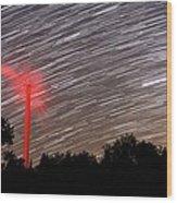 Wind Turbine Under Star Trails Wood Print by Laurent Laveder