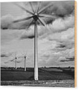 Wind Turbines Mono Wood Print