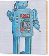 Wind-up Robot Wood Print