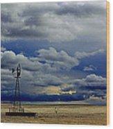 Windmill And Angry Skies Wood Print