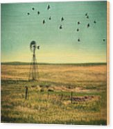 Windmill And Birds Wood Print