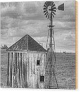 Windmill And Shack Wood Print