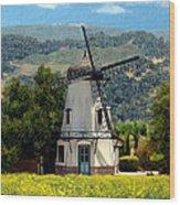 Windmill At Mission Meadows Solvang Wood Print