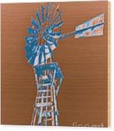Windmill Blue Wood Print