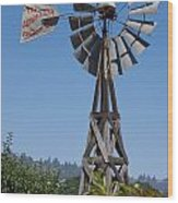Windmill Blue Sky Wood Print