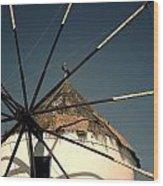 windmill Greece Wood Print by Joana Kruse