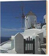 Windmill Greek Islands Wood Print