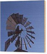 Windmill In Blue  Wood Print