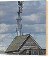Windmill In The Storm Wood Print