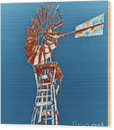 Windmill Rust Orange With Blue Sky Wood Print