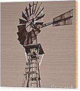 Windmill Sepia Wood Print