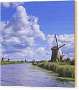 Windmills In Holland Wood Print