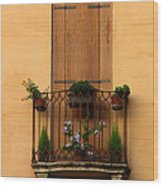 Window And Balcony In Vicenza Wood Print