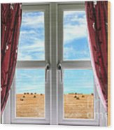 Window And Curtains With View Of Crops  Wood Print