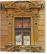 Window And Pediment In Ljubljana Slovenia Wood Print