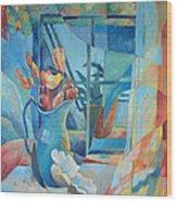 Window In Blue Wood Print