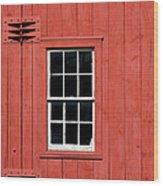 Window In Red Wall Wood Print