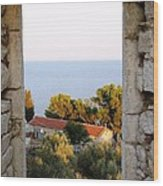 Window Of Sea Wood Print