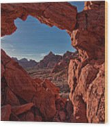 Window On The Valley Of Fire Wood Print