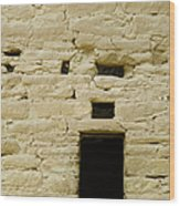 Window Opening In Old Brick Adobe Wall Wood Print by Ned Frisk
