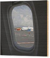 Window View On An Airplane Wood Print