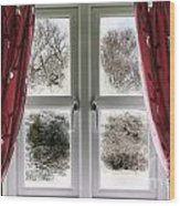 Window View To A Snow Scene Wood Print