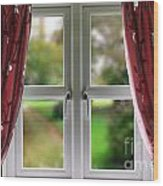 Window With Curtains Wood Print
