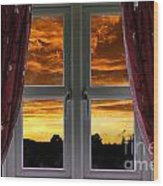 Window With Fiery Sky Wood Print