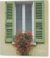 Window With Shutter Flowers Wood Print