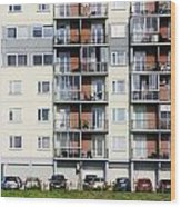 Windows  Balconies  Cars And Lawn  Of A Multiroom Apartment Hous Wood Print